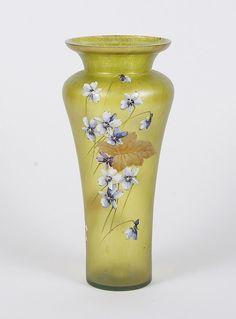 LOETZ Baluster Iridescent Yellow Art Glass Vase w/ Enamel Flowers