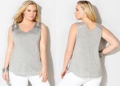 #PlusModelMag Plus Fashion Find: Cutout Shoulder Tank From Avenue @PlusModelMag