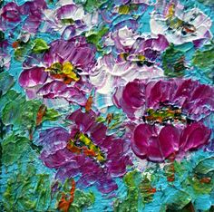 Oil Painting Original Art Purple Fuchsia Pink  Blue by LUIZAVIZOLI, $49.00