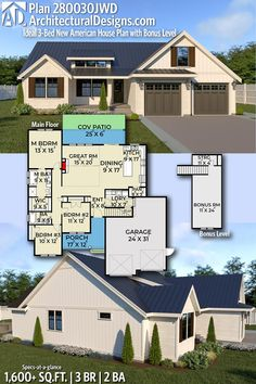 Architectural Designs New American Home Plan gives you 3 bedrooms 2 baths and 1600 sq. Ready when you are! Where do YOU want to build? One Level House Plans, New House Plans, Modern House Plans, House Floor Plans, Roof Cladding, American Houses, Contemporary House Plans, House Blueprints, Bedroom House Plans