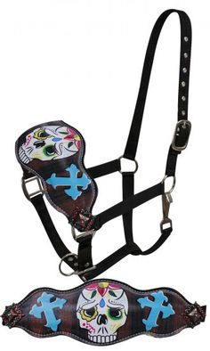 FULL SIZE Leather bronc halter with painted sugar skull with cross design-FULL…