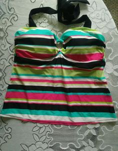Sonoma halter tankini top nwot 14 black multi color stripes #Sonoma #TankiniTop