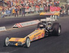 """Don """"Snake"""" Prudhomme's Carefree sponsored """"Yellow Feather"""" T/F Dragster...1973 Pomona Fairgrounds."""