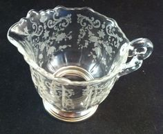 Vintage Cambridge Glass Chantilly Etched Creamer w/ by cerritorose