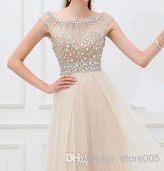 Vestido Champagne Crystal V Back Cap Sleeve Long Tulle Modest Prom Dresses