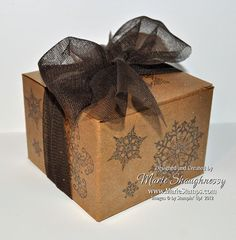 Golden Snowflakes Christmas Box by MarieStamps.com using Stampin' Up! Kraft Boxes.