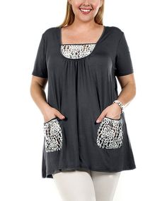 Gray & White Lace-Trim Pocket Tunic - Plus #zulily #zulilyfinds