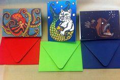 Octopus Merkitty and Anglerfish Notecards by PufferfishPress, $10.00