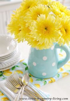 flowers.quenalbertini: Pitcher of Yellow Gerbera Daisies   Town & Country Living