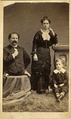 """ca. 1870-90's, [carte de visite portrait of Eli Bowen,""""The Legless Acrobat"""", with his wife and child], A. Newman  via Jeffrey Kraus, Antique Photographics"""