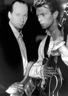 "David Bowie & Adrian Belew, ""Sound and Vision"" tour in 1990."