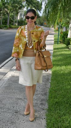 Talbots Linen Box Jacket; Cashmere Neiman Marcus Top; Ellen Tracy Linen Skirt; Michael Kors Leather Bag; Ralph Lauren Python Shoes; Albatros Leather Belt; Vintage, J. Crew, & Mother-of-Pearl Necklaces; Vince Camuto Link Bracelet; Ralph Lauren Sunglasses.  Professionally polished way to welcome Spring!  http://www.akeytothearmoire.com/post/25642773232/dusty-rose