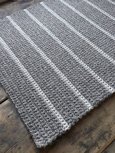"Stripe Crocheted rug 100% natural wool 45""x22"", entry mat, bedroom rug, rectangular carpet, latex backing"