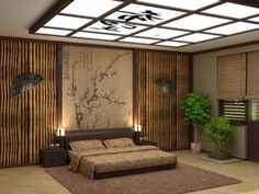 Oriental theme bedroom. Interesting concept, not a fan of the rug and bedding but everything else is quite cool