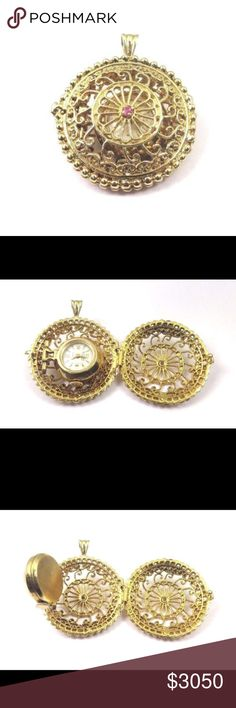 14k Yellow Gold Vintage Altair Self Winding Watch Hi, Here we have a beautiful 14k Yellow Gold Vintage Altair Self Winding Pocket Watch In A Pendant Locket. Watch is Altair 17 jewels incabloc swiss made hand winding watch. Watch works and keeps time. Pendant has a pink center stone on each side. Pendant has an intricate handmade design. Very unique item. A great gift idea. Comes with a free gift box. Total weight: 24.2g.  Length: 1.25 inch. not including bail. Width: 1.25 inch. Thickness: 11…