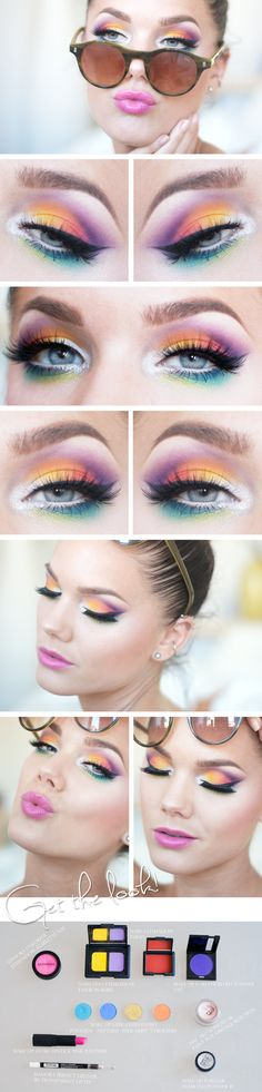 ☁︎ @hannahschoepple ☁︎ Rave Eye Makeup, Rainbow Eye Makeup, Colorful Eye Makeup, Rainbow Eyes, Bright Eye Makeup, Colorful Hair, Bird Makeup, Fun Makeup, Butterfly Makeup