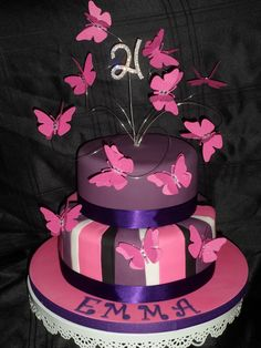 Paper butterflies on cake wires