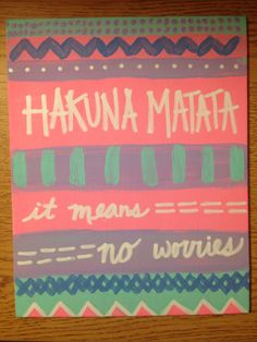 Hakuna Matata canvas art DIY paint