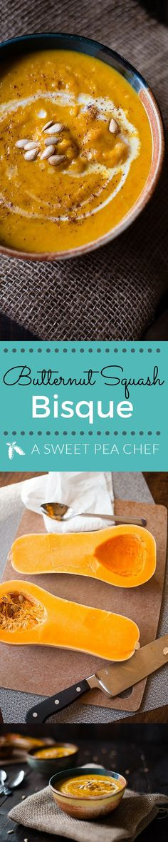 Butternut Squash Bisque Photos and recipe by Lacey Baier www.asweetpeachef.com