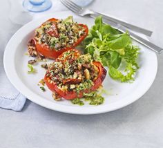 Stuffed peppers are a vegetarian favourite - this version is packed with vegetables, fresh pesto, herbs and chilli