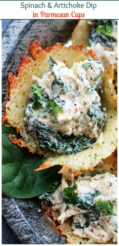 Creamy and cheesy Spinach and Artichoke Dip served in delicious, easy homemade Parmesan Cups.
