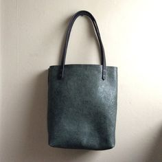 Large Distressed Leather Tote in Crackled Teal by HattonHenry