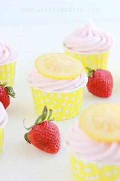 Strawberry Lemonade Cupcakes - One Sweet Appetite