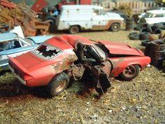 T-Boned 70 Camaro, Built Wreck ⋆ Rc Cars And Trucks, Chevy Trucks, Model Truck Kits, Model Kits, 1970 Camaro, Junkyard Cars, Model Cars Building, Custom Hot Wheels, Plastic Model Cars