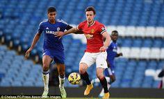 Ruben Loftus-Cheek attempts to close down Manchester United's goalscorer Will Keane
