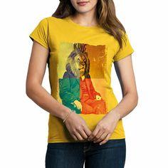 d8696ef3 A923Y Womens Crew Neck T-Shirt King Lion Rasta Drugs Trippin Weed Art Ganja  Hips