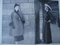 Vogue 1115 by Schiaparelli and Vogue 1117 by Jacques Fath in Vogue Pattern Book, December 1950-January 1951