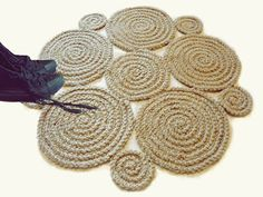 Small Flower Crochet natural jute rug Braided rug by GreatHome