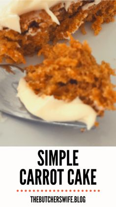 Yummy Carrot Cake is easy to make! It is simple but delicious! A moist carrot cake with a sweet and creamy cream cheese frosting! Carrot Cake Bars, Easy Carrot Cake, Moist Carrot Cakes, Easy Cake Recipes, Frosting Recipes, Dessert Recipes, Baking Recipes, Cake Fillings, Salty Cake
