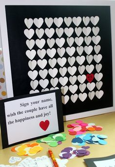 Unique Wedding Guestbook Alternative 3D Wedding Hearts Large Guest Book for 80-140 Guests Gift for Wedding, Bridal Shower, Anniversary