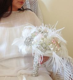 Great Gatsby Brooch bouquet Brooch and pearl by HeartShapedPetals