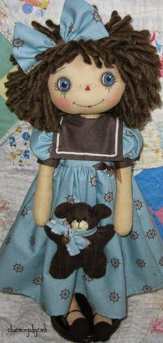 Seems appropriate for Memorial Day  to have Sailor Annie  SOLD  her little teddy was made from an old brown sweater    her ...