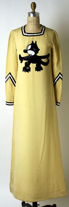 "Sequined yellow silk ""Felix the Cat"" dress by Geoffrey Beene, American, spring/summer 1971.  Different!"