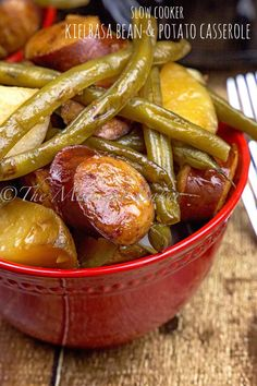 Kielbasa, green beans and potatoes blend together to make this wonderful and comforting casserole–and the slow cooker does all the work!