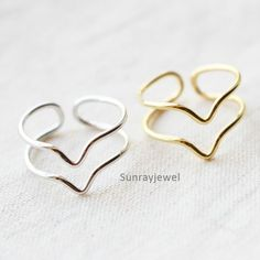 Double Lined Chevron ring, Knuckle ring, Adjusable ring / Gold, Silver #Wrap