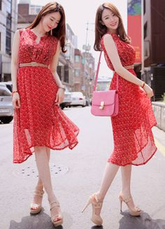 Chiffon Dress - http://zzkko.com/n123473-pecials-*-KoreaFashion-Korea-Station-*-Fashion-Irregular-Hem-waist-Floral-Chiffon-Dress.html $16.67
