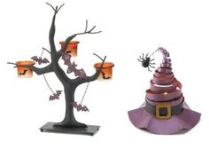 Set of 2 Halloween Candle Holders - Witch Hat and Bats - Halloween Decor
