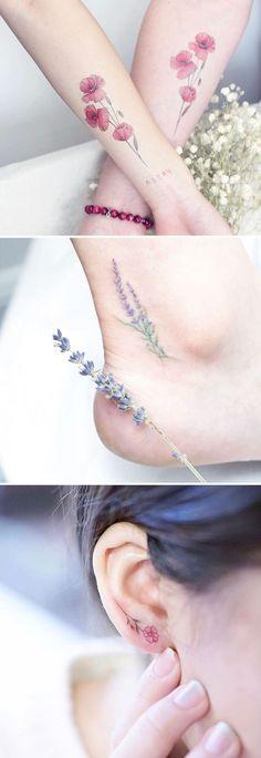 ▷ Flower Ideas Tattoo designs and their meanings .- ▷ 1001 + Ideen für Blumen Tattoo Designs und ihre Bedeutungen beautiful tattoo tendril motifs, handtattoo, tattoo, creative tattoo idea on ear, little flowers - Beautiful Flower Tattoos, Pretty Tattoos, Love Tattoos, Body Art Tattoos, New Tattoos, Tattoos For Women, Tatoos, Floral Tattoos, Temporary Tattoos