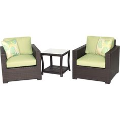 Metro3pc Seating Set: 2 Side Chairs, 1 Side Table - METRO3PC-B-GRN - Brown/Green