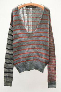 I wish! Marble Stripe Shred Back Pullover - Raquel Allegra, my fave.