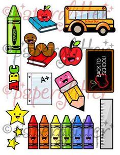 Free Printable Party Printable Kawaii Paper Crafts Kids Crafts Stationery Printable: Back to School Stuff! School Kit, Back To School Teacher, First Day Of School, School Stuff, Back To School Party, School Parties, Apple Theme Classroom, Back To School Clipart, School Scrapbook