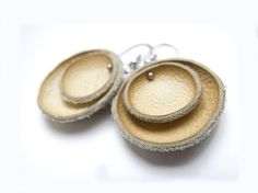 Leather circle earrings by katrinshine from Italy