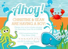 DIY Baby Shower Invitation - Under the Sea Template