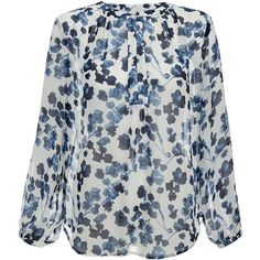 Joie Amaral Deep Blue Floral Print Silk Blouse ($140) ❤ liked on Polyvore featuring tops, blouses, blue, long tops, joie blouse, floral tops, silk top and blue floral blouse
