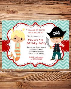 Mermaid or Pirate Birthday Party Invitation, BOY, GIRL, Little Mermaid, Pirate Birthday, Teal, Red, Chevron Stripes, Printable (Item 4071)