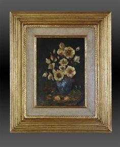 Blumenstilleben mit gerippter Rahmenleiste. (Reeded cushion frame)